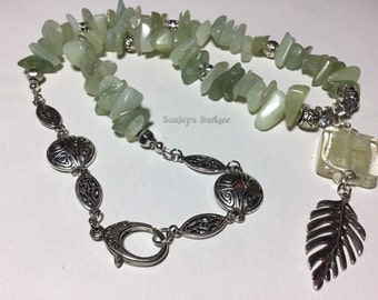 Seagreen Jade and Tibetan silver necklace