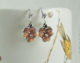 Pansy Earrings, Peach Pansy Flower Earring, Enamel Pansy Earring, Crystal Pansy, Pansy Drop, Cloisonne Peach Pansy, Pansies, Peach Pansy