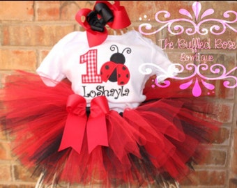 BLACK AND RED Ladybug Tutu Set