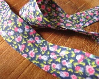 Blue and Pink Floral Print Cotton Bias Binding - 25mm Bias Binding - Floral Edging - Floral Trim - Bias Edging - Floral Print Bias Binding