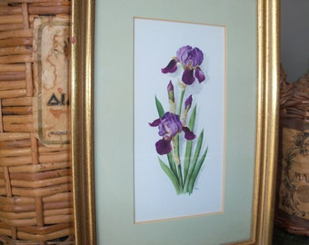 Vintage Framed Matted Purple Flowers Wall Art Print