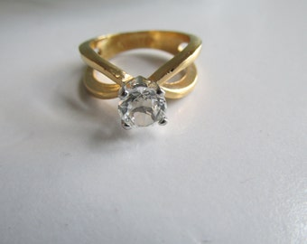Diamond Soliaire Ring Gold Ring Sz 6 Right Hand Ring Diamond cz Solitaire Ring