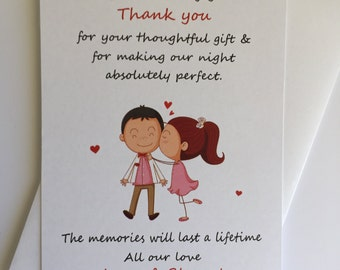 Personalised Engagement Thank You Cards (20 Pack)  with white envelope, Kissing couple