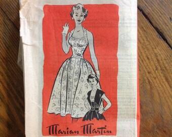 Marian Martin 9120 unprinted sewing pattern 1950's size 13 Marilyn halter shelf bust party dress full skirt rockabilly mid century fashion