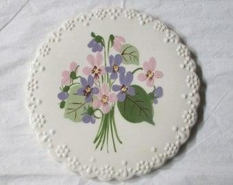 "1950s Cleminsons Pottery California 7"" Trivet Hand Painted Pink & Purple Violets"
