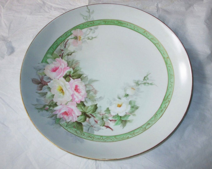 "Jaeger and Co. J&C Bavaria Hand-Painted 12"" Porcelain Platter Large Pink Roses, Green Band, Gold Trim, c. 1910s"