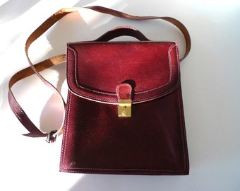 Vintage Leather Purple Shoulder Bag 1970s Scandinavian Retro Strap