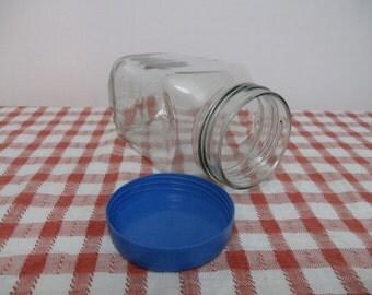 Vintage glass sweet jar. Glass storage jar. large glass jar with lid