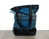 Grey and teal wool  tote, faux leather shopper, hand made shopping bag