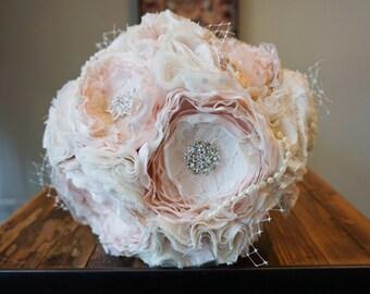 Fabric bouquet, fabric flower bouquet, brooch bouqhet