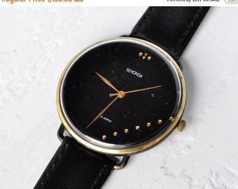 SALE - Soviet watch , Big Watch, Mens watch ,Womens watch, Gold plated watch, Russian watch, Vintage Watch, Black watch