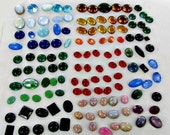 This item is ON SALE Flat Back Cabochons 125 Jewelry Making Vintage Supplies large oval all GLASS crafts stones many colors