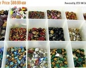 This item is ON SALE 4500++ Vintage glass RHINESTONES  faceted glass stones foiled unfoiled jewelry making crafts supplies 1 pound 7 ounces