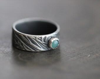 SUMMER SALE Chrysoprase Ring, Green, Gemstone, Sterling Silver, Tribal, Zentangle, Botanical, 4mm, Bezel Setting, Rustic, Wedding, Engagemen