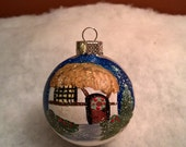 Hobbit Cottage Hand Painted Christmas Ball Sally T. Crisp Free Gift Wrap