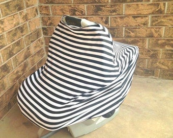Black & White Striped Carseat Cover, Nursing Cover, Swaddle Blanket