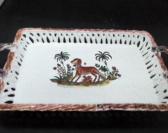 Vintage Berados Tray - Portugal, Dog, Garden, Hand Painted - 1950's - Rare, Collectible!