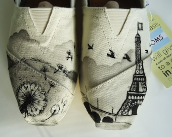 Dandelion Eiffel Tower Toms, Paris Toms. Hand painted Toms Shoes.