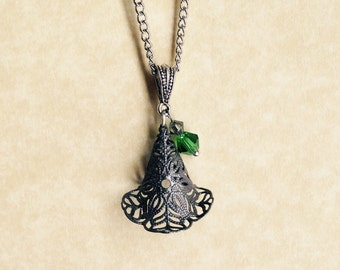 Elphaba Necklace - Broadway's Wicked - Filigree Metal hat w/ green crystal - Defy Gravity - Gift Under 20