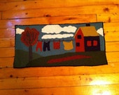 """Rug Hooked Wall Hanging """"Clothesline"""""""