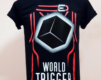 "Cartoon Tshirt design ""World Trigger"" with cube Black cube Kuga yuma Uniform on the background  - Unisex Adult T-Shirt  Black Tshirt"