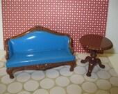 Vintage 80s Littles Die Cast painted Metal Sofa &  Hinged Table set