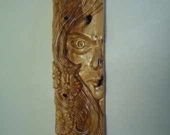 "Large Wood carving sculpture 31"" - Large wood wall art - Hand Wood carving -  Carved wood spirit - Panel art - Original art - Wood sculpture"