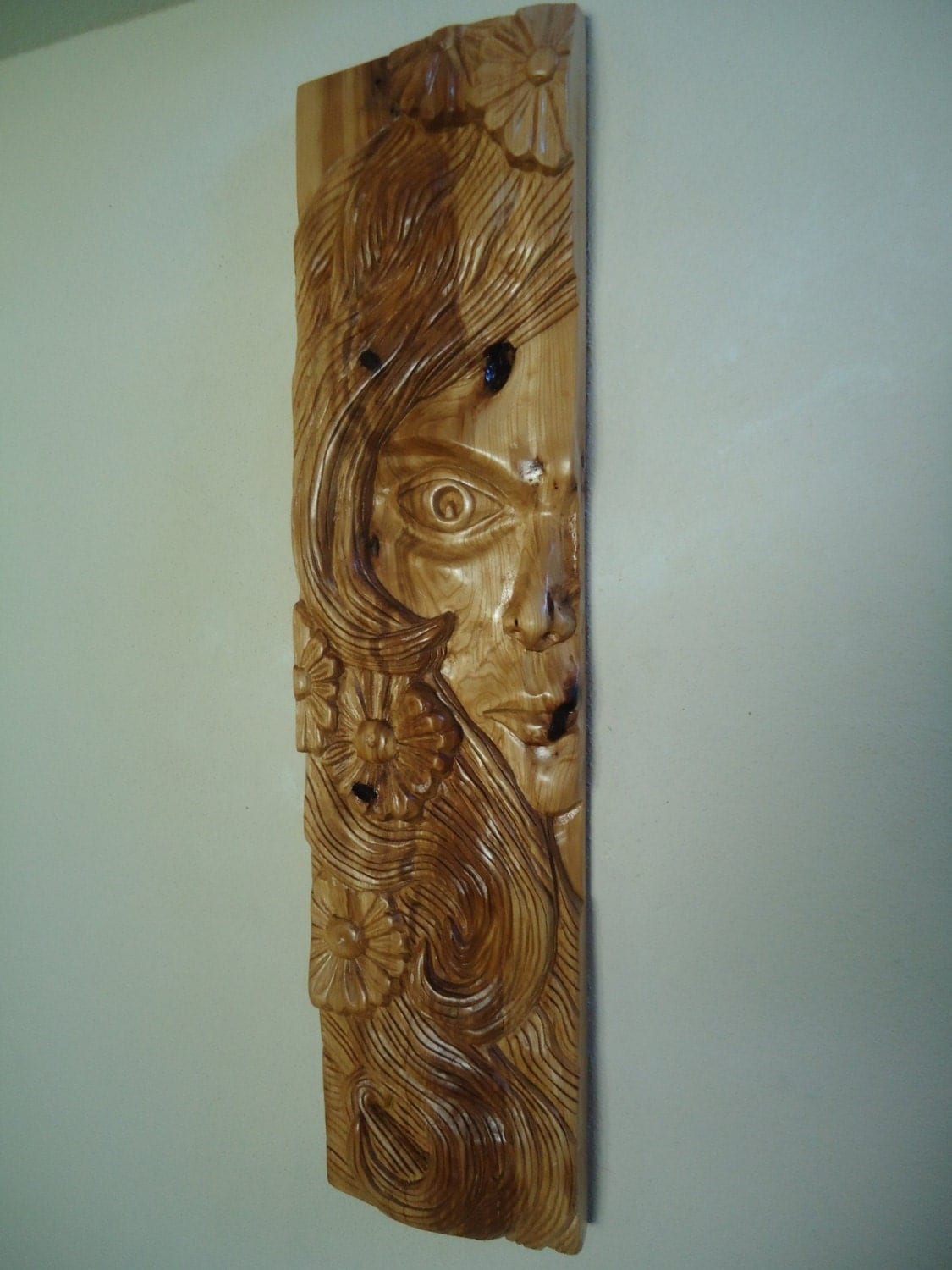 Large wood carving sculpture wall art