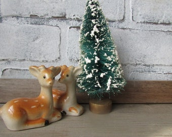 Two Deer Cake Topper Vintage Winter Wedding Fawn Salt and Pepper Shakers