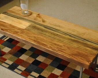 Metal leg coffee table, multi-brown stains