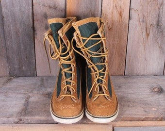 1980s Era LL Bean Felt Bottom Fly Fishing Canvas Leather Suede Boots