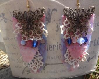 OOAK Fairy Fantasy Garden Butterfly Silk and Lace Earrings - Atlantic Rock Threads