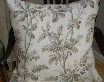 Schumacher fabrics Brantwood Vine Color Mineral Pillow 100% Linen Pillow Cover