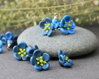 Handmade Lampwork Beads, Set of 6 forget-me-not  glass beads, Glass Beads, Floral Lampwork, Lampwork Beads, Lampwork Flower, Glass Beads