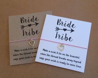 Wish String Bracelet Bride Tribe Wedding Favor card Friendship Hen Party #110