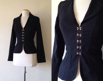 90s black jacket / fitted jacket / fitted blazer / black blazer women small / 1990s clothing