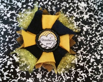 Sporty Bottlecap Football Pittsburgh Steelers Logo Hair Bow on Lined Alligator Clip