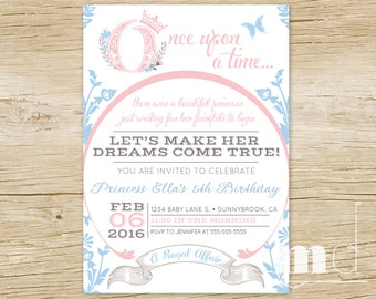 Once Upon a Time Birthday Invitations, Cinderella Fairytale Birthday Party Invitation, Princess Invite, Storybook Invite, PRINTABLE, DIGITAL