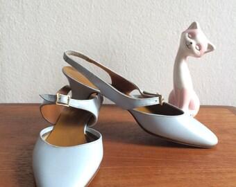 60s baby blue ultra mod slingback low heels 6