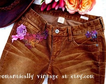 Altered Corduroy Pants, Bootcut Jeans, Art to Wear, Boho Gypsy, Romantic Clothes, Shabby Chic Accessories, Earthy, Rustic Charm, Distressed