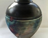 Raku Smoked fired Textured Vessel