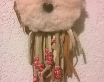 Shearling Cloud totem Amulet Bag with long beaded leather fringe,medicine bag,mountainman regalia,renaissance,resort wear,pow wow,burningman