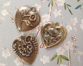 Vintage Heart Charms Set of 3Pcs