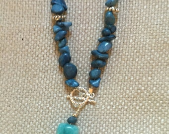 Indigo dyed quartz necklace