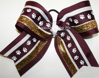 Big Cheer Bow, Maroon Gold Cheerbow, Paw Print MSU FSU Big Hair Clip, Cheerleader Spirit Barrette, Softball Bow, Football Bulldogs Hairbow,