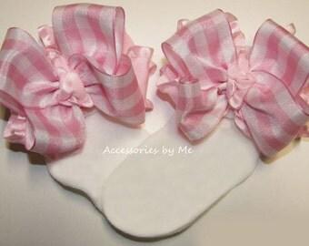 Gingham Bow Socks, Light Pink Plaid Ruffle Ribbon Bows, Baby Girls Infant Newborn Custom Socks, New Babies Gift, 1st Birthday Boutique Sock