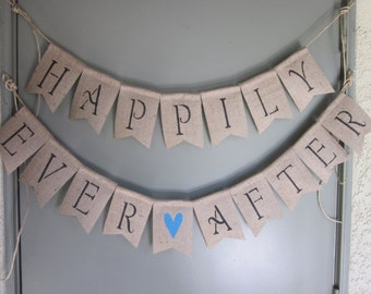 Happily Ever After Banner - Barn Wedding Banner - Happily Ever After Photo Prop -Boho Hippie Chic Bunting - Rustic Chic Burlap Sign