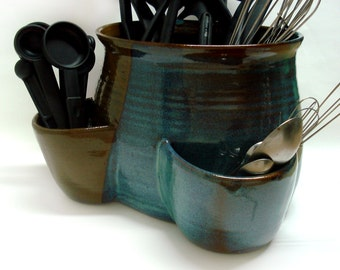Large utensil holder, Oval with two pockets, Stoneware crock,  Made to order