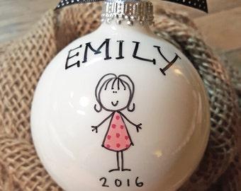 Girl Ornament, Personalized Girl Ornament, Ornament for Girl, Girl Christmas Ornament Personalized, Peraonalized Girl Ornament, Girl Gift