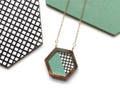 Hexagon Necklace Geometric Rose Gold Graphic Print & Mint Hexagon Necklace , Hexagon Jewellery , Rose Gold Necklace , Geometric Jewellery